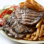 Pork Chops with Fries and Salad